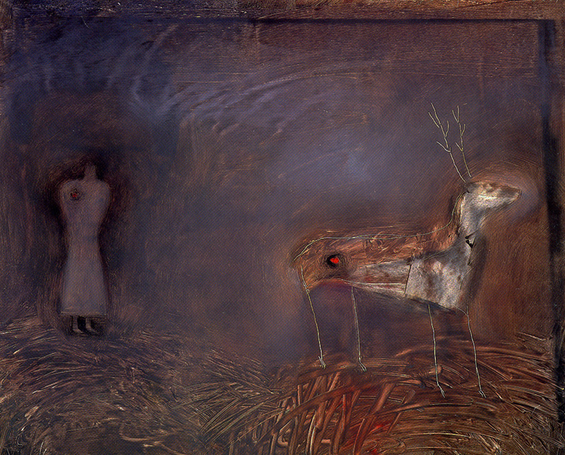 Deer With Angel by Holly Roberts
