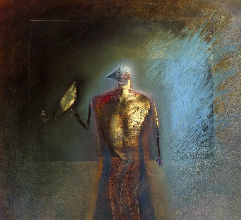 Man With Two Birds by Holly Roberts