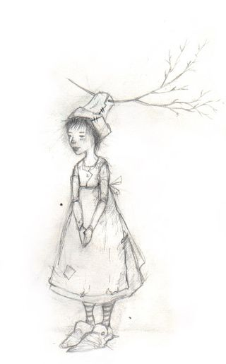 Little Person with Tree Hat (from one of my sketchbooks)