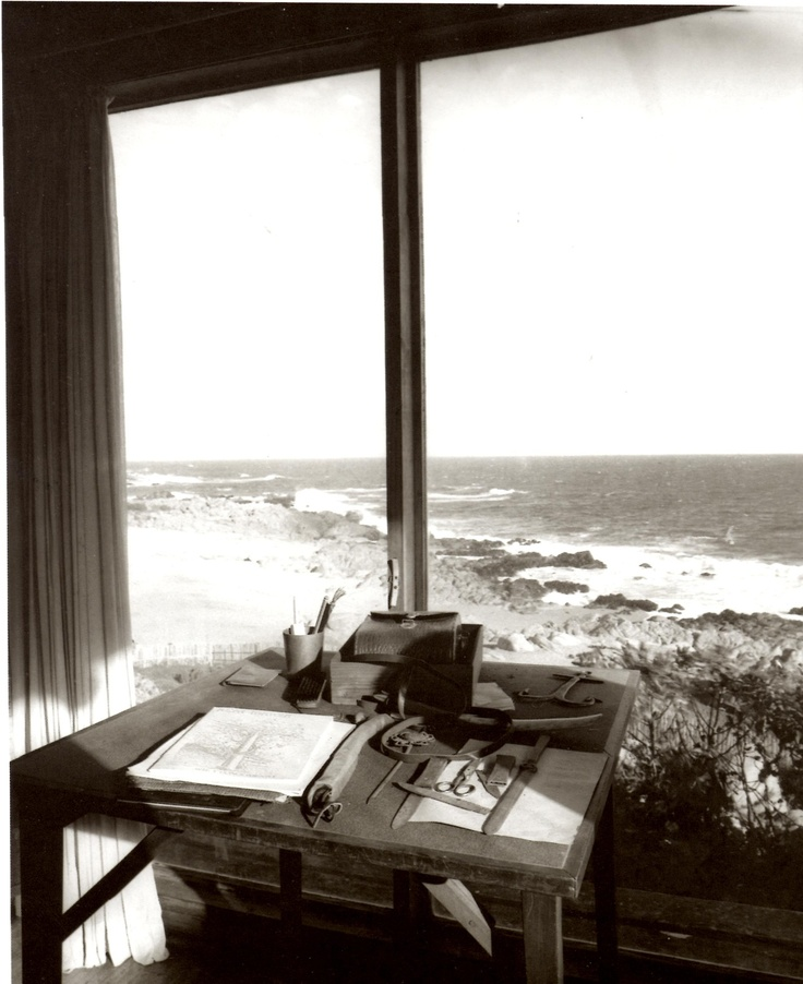 Neruda's writing space in Chile, from ''Pablo Neruda Absence and Presence'' by Alastair Reid