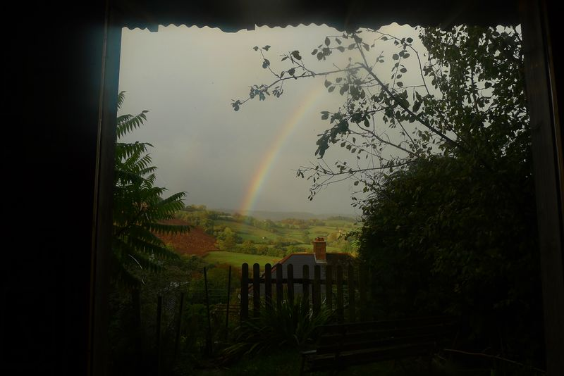Rainbow through the studio window