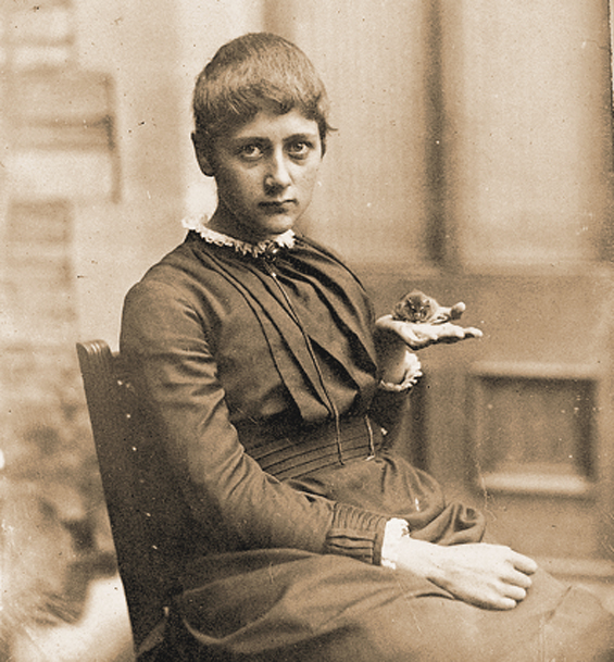 Beatrix Potter with pet mouse, 1885