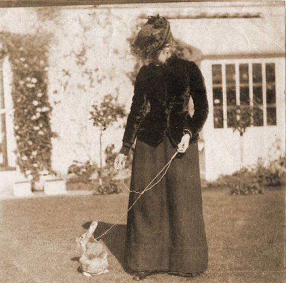 Beatrix Potter with pet rabbit, 1981