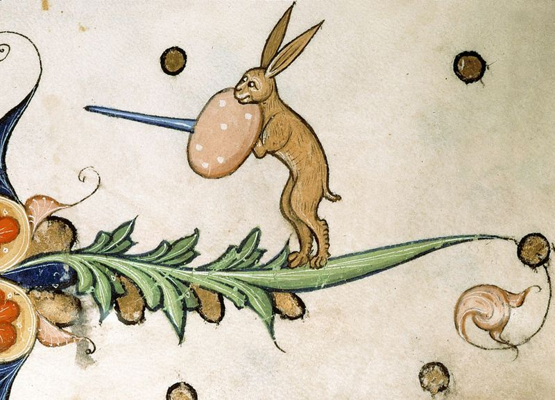 Rabbit Warrior from the Pontifical of Guillaume Durand, Avignon, before 1390