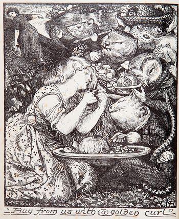 Goblin Fruit by Dante Gabriel Rossetti, an illustration for ''Goblin Market'' by his sister, Christina Rosetti