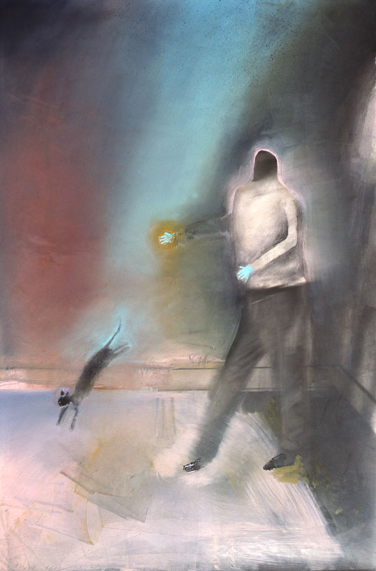 Man With Cat Jumping by Holly Roberts