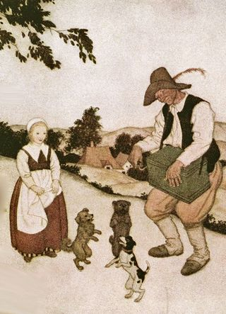 White Caroline and the Dancing Dogs by Edmund Dulac
