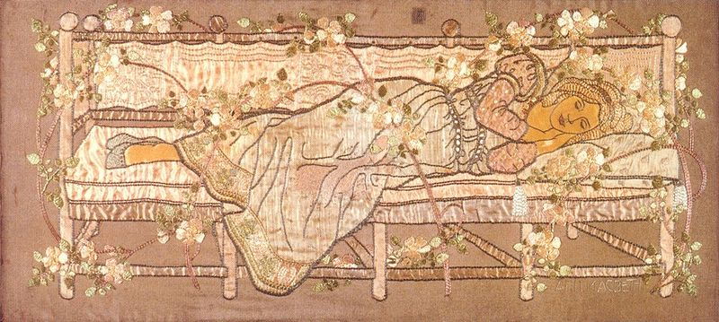Sleeping Beauty (embroidered panel) by Ann Macbeth