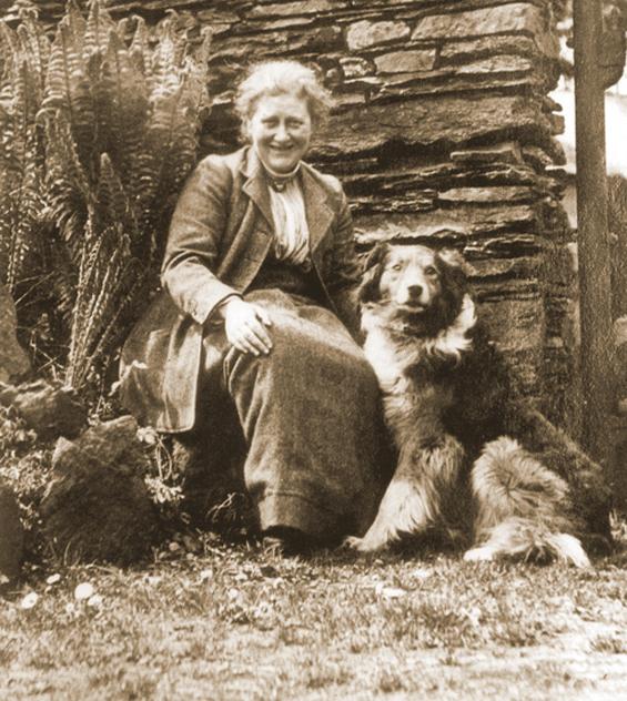 Beatrix Potter and Kep at Hill Top Farm, circa 1920s