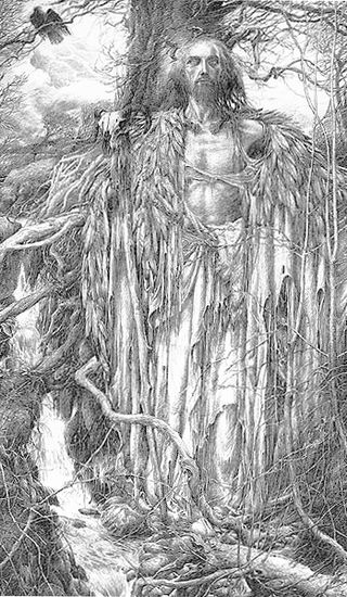 Merlin in the woods by Alan Lee