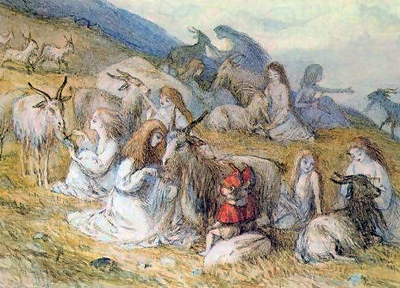 Girls Combing the Beads of Goats by Richard Doyle