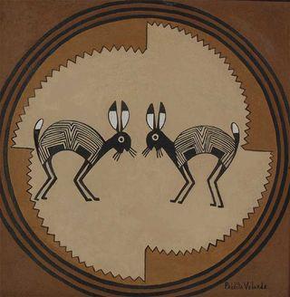 Mimbres Rabbits by Pablita Verlarde, Santa Clara Pueblo