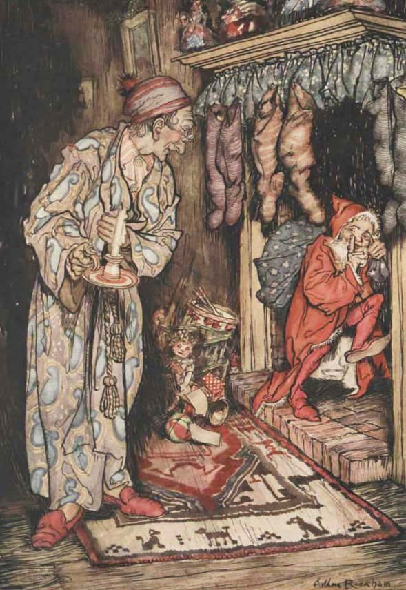 Stockings Were Hung by the Chimney With Care by Arthur Rackham