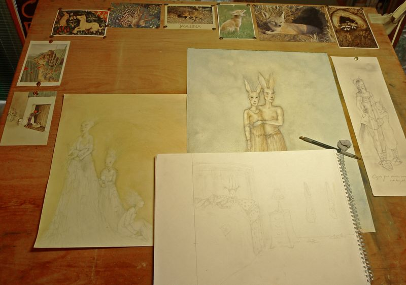 On my drawing table