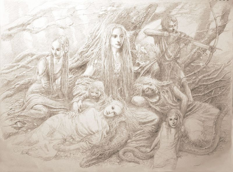Fairies in the Wood by Alan Lee