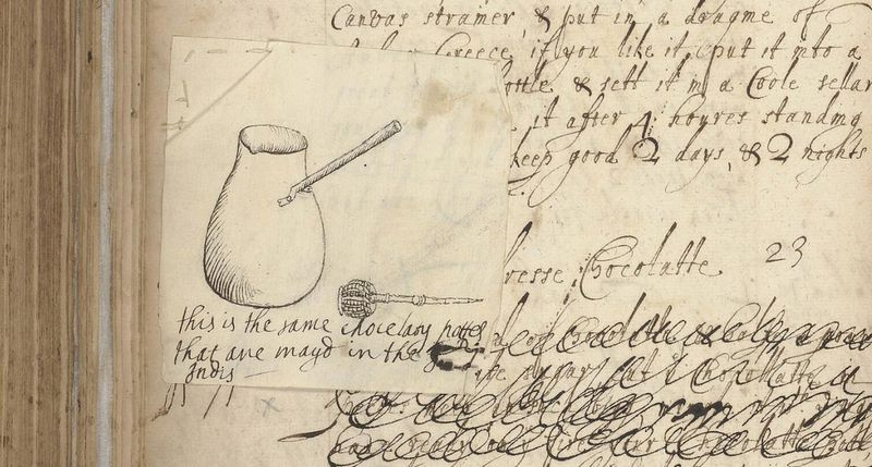 Sketch of Chocolate Pot & Whisk, mid 1660s