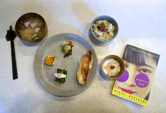 Haruki Murakami food-and-book paiting on the Yummy Books blog