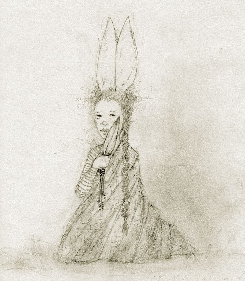 Bunny Girl with Prayer Feathers by Terri Windling